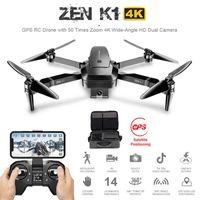 Zen K1 GPS RC 무인 항공기가 50 배 줌 4K 광각 HD 듀얼 카메라 WiFi FPV 브러시리스 모터 28 분 비행 시간 SG906 무인 항공기 4K 210607