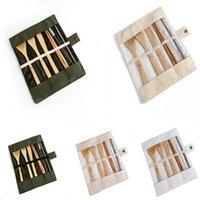 Louça de madeira conjunto bambu colheres de chá de sopa faca de sopa cutelaria conjuntos com saco de pano cozinha cozinha ferramentas utensílio rra4445