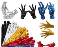 1 Pair Michael Jackson Sequined gloves Evening Party Costume Gloves dance at the kindergarten's Kids Gloves 10 colors Y0910