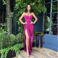 Fuchsia Sexy Bal Robes De Longues Robes de Chamante Pour Femmes Sweeetheart High Slit Plus Taille Robe de soirée Robe de Soniree Occasion Occasion