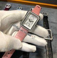 Erkek-arkadaş Kod Coco Electro H4469 İsviçre Kuvars Bayan İzle Çelik Kılıf Elmas Çerçeve Beyaz Dial Pembe Gerçek Timsah Deri Kayış Bayanlar Saatler Puretime F03A1