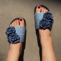 Pantofole Flip-flip-flops Denim Fiori traspiranti Appartamenti Open Toe Shoes Casual Elegant Ladies Chinelo Feminino Salto Baixo # G4