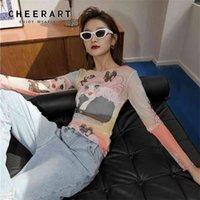 Cheerart мультфильм футболка сетка с длинным рукавом аниме футболки женщины розовый печать Смотреть сквозь прозрачный верхний падение мода 210322