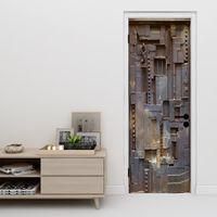 Wallpapers 77*200cm 3D High Simulation Doors Series Door-tickers Removable Wall Stickers Bedroom Living Room DIY