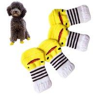 Dog Apparel 4PCS Pet Socks Anti-Slip Comfortable Puppy Protectors Duck Pattern Cat Cute Knits Supplies