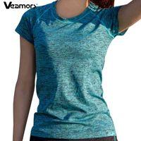 Veamors женщины быстрые сухие спортивные йоги рубашка, короткие рукава дышащие упражнения вершины, тренажерный зал, бегущий фитнес футболки спортивная одежда