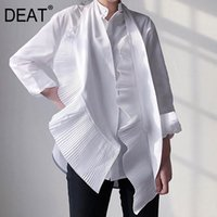 Deat NEW Spring And Autumn Fashion Women Clothes Turn-down Collar Full Sleeves Pleasted Scarf Shirt Two Pieces WD60300L