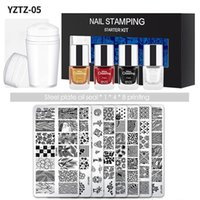 Nail Art Kits 14Pcs Set Stamping Plates With Silicone Clear Stamper Scraper 7ml Polish Flowers Geometry Printing