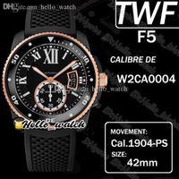 TWF F5 CALIBER DE DIVE W2CA0004 CAL.1904-PS MC Automatische Herrenuhr Super Leuchtende Keramik-Blende Zwei Ton PVD Black Stahlgehäuse Gummi-Band-Uhren HELLO_WATCH