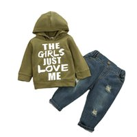 Baby Clothing Sets Boys Suits Kids Clothes Autumn Winter Cotton Letter Printed Hoodie Hole Jeans Trousers Infant Wear Casual 2Pcs B8256
