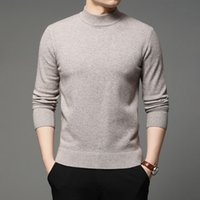 الخريف الشتاء الرجال الياقة المدورة البلوز سترة الأزياء بلون سميكة الدافئة قاع قميص الذكور العلامة التجارية الملابس