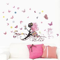 Wall Stickers Butterfly Flower Fairy For Kids Room Decoration Bedroom Living Children Girls Decal Poster Mural