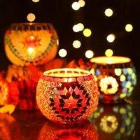 Bougie circulaire tasse romantique fleur de couleur artisanal multicolore bouge de chandelier de mariage barre de mariage home table de décoration de table