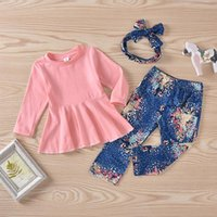 Clothing Sets Infant Baby Girls 3 Pcs Outfits Suits Long Sleeve Solid Color Ruffle Romper Tops + Floral Printed Pant Headband
