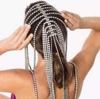 Bridal Headband Rhinestone Long tassel Hair Chain Accessories for Women Crystal Multi Strand Head Chain Hair Jewelry