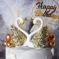 その他のお祝いパーティー用品ウェディングバレンタインデーケーキデコレーションプラスチッククラウンゴールドシルバースワンフラミンゴ誕生日ドレスアップサプライ