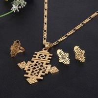 Earrings & Necklace BangruiEthiopian 8.7CM*5.7CM Cross Jewelry Sets Pendant Chain Earrings Ring Ethiopia Gold Africa Religions Eritrea