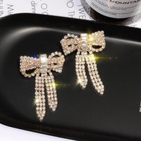 2020 New Designer Earrings with Crystal Silver Gold Bow Sweet Girl Stud Earrings CZ Diamond S925 Silver Needel Jewelry