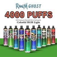 Аутентичные RANDM Ghost одноразовые E сигарета с RGB Light 4000puffs 650mah аккумуляторная аккумуляторная парная панель