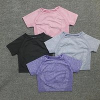 Önemli Sorunsuz Yoga Gömlek Katı Renk Kadın Spor Kısa Kollu Mahsul Üst Egzersiz Tops Spor Giysileri Spor Koşu T-Shirt