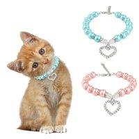 Halsboorden Leidingen Huisdier Parel Decoratieve Kraag Puppy Kat Ketting Liefde Diamant Verstelbare Honden Katten Sieraden Accessoires