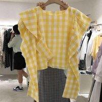Women's Blouses & Shirts 2021 Sweet Ruffles Short Blouse Women Spring Yellow Plaid Long Sleeve Womens Crop Tos Korean Fashion Blusas Mujer