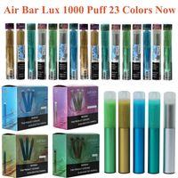 에어 바 럭스 일회용 담배 vape 펜 1000 퍼프 500mAh 배터리 2.7ml 에어 바 포드 미리 채워진 증기 스틱 장치 휴대용 기화기 키트