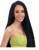 브라질 Boleto 브라질 헤어 가발 꼰 레이스 프런트 가발 22inch 상자 머리 끈 흑인 여성을위한 검은 합성 가발에 마이크로 브레이드 레이스 가발