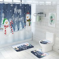 Christmas Bathroom Decor Toilet Seat Cover Antislip Rug Set Shower Curtains Winter Housing Mat Seat Christmas Decoration J0512