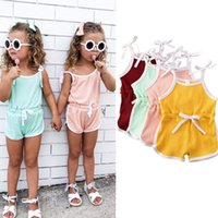 Kids Designer Clothes Baby Girls Suspender Rompers Infant Summer Cotton Breathable Jumpsuits Newborn Fashion Onesies Climb