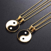 Pendant Necklaces Matching 1-2 Pieces Tai Chi Puzzle Necklace For Women Gold Silver Color Yin Yang Charm Couple Friends Jewlery