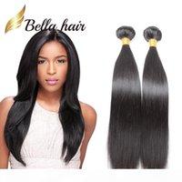 Cheveux bella? Extensions de cheveux brésiliens populaires Double trame Natural Couleur 9a Bonds de cheveux droite 2pcs Lot Longueur mélangée 10 ~ 24 pouces Tissu