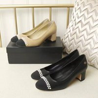 021 womens office middle heel formal shoes single 35-41 genuine leather pearl inlaid jewelry exquisite workmanship