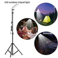 Luz de acampamento ao ar livre portátil LED Bright Ajustável USB recarregável tripé de tripé de trabalho para lanternas de piquenique