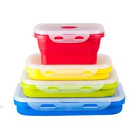 Faltbare Silikon-Lunchboxen 4pcs / set Lebensmittel-Speichercontainer Haushaltsfrüchte-Halter Camping Road-Reise Portable Hauspflege Dwe9385