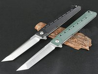 Top Quality Flipper Folding Knife 8Cr14Mov Satin Tanto Point Blade G10 + Stainless Steel Handle Ball Bearing Fast-opening EDC Pocket Knives