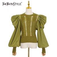 Twotwinstyle Patchwork Dantelli Kazak Kadınlar O Boyun Puf Kollu Rahat Tunik Kazak Kadın Moda Yeni Giyim 2020 Güz LJ201112
