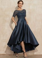 Elegant Navy Blue High Low Satin Lace Mother of the Bride Dress Scoop Asymmetrical Bridal Party Gown Customed Robe De Soiree Vestidos