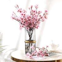 인공 꽃 복숭아 꽃 짧은 지점 실크 벚꽃 홈 야외 사무실 장식 가짜 꽃 가을 장식