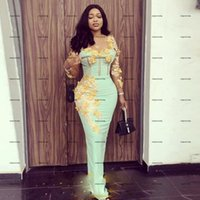 Mint Green Long Sleeves Mermaid Prom Dresses With gold Flowers Appliques Exposed Boning african Aso Ebi black girls Evening Gowns