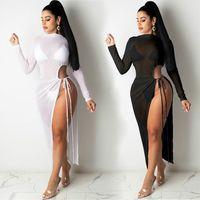 Сетка Sheer Maxi Split Split Летнее Женское платье с длинным рукавом Посмотреть через BodyCon Club Sexy Beach Swimwear Cover UPS