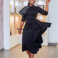 Autumn African Dresses For Women 2021 O-neck Black Printing Knee-length Dress Clothes Ethnic Clothing