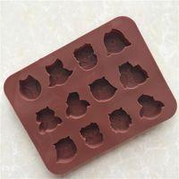 1 pz 12 Style Gufo Silicone Cake Biscotto Cioccolato Candy Muffin Sapone Stampo per la cottura Cassetto di cottura Carino Gufo Stampo DF5939