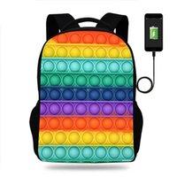 12 colores 3 unids / dhl fidget push pops burbuja impresa mochila bolsas de hombro 17 pulgadas niños estudiantes escuela bolsa libro paquete USB caring auricular puerto mochilas g87085k