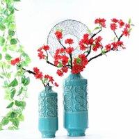 거품 지점 실크 벚꽃 집 웨딩 정원 장식 가짜 붉은 매화 장식 화환에 대 한 인공 꽃