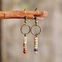 Dangle & Chandelier Womens Earrings Vintage Natural Stone Crystal Bohemian For Female Gift European Ethnic Jewelry Drop