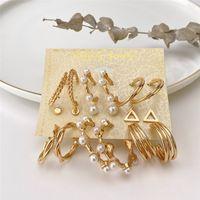 Fashion Irregular Pearl Hoop Earrings Set For Women Geometirc Gold Metal CZ Zircon Circle Hoops Earring Brincos Trendy Jewelry Gift