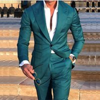 Men's Suits & Blazers Costume Homme Green Wedding Tuxedos Slim Fit Groom Tailor Made Groomsmen Prom Party (Jacket+Pants) Terno Masculino