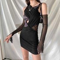 Maille patchwork empilée mini robe femmes sexy manches longues creuse cross design vêtements dame solide robes de maillonnement 2021 occasionnels