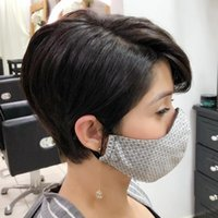 Human Hair Blend Wig Short Natural Straight Pixie Cut Side Part Layered Haircut Black full machine none lace front wigs